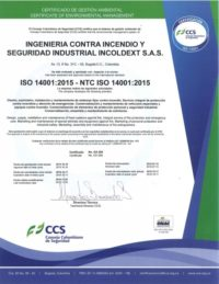 Certificado Ambiental Incoldext ISO-14001