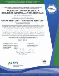 Certificado de Seguridad y Salud Ocupacional Ohsas 18001